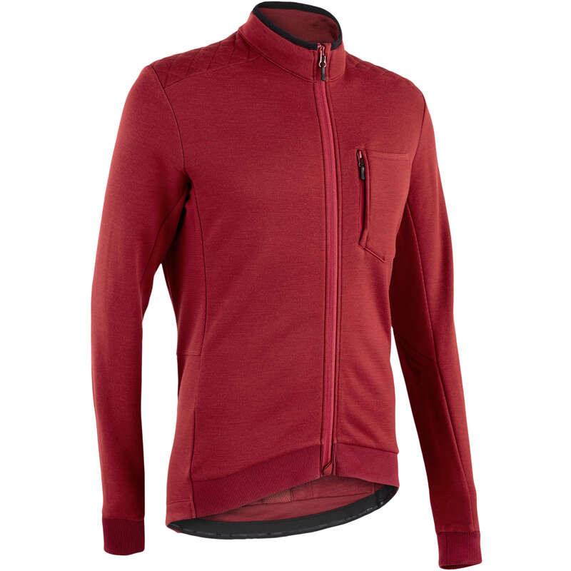 MEN MID-SEASON ROAD APPAREL Cycling - Triban Merino Long-sleeved Jersey RC900 - Burgundy TRIBAN - Cycling