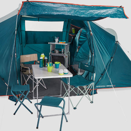Camping Tent with Poles Arpenaz 4.2 4 People 2 Bedrooms