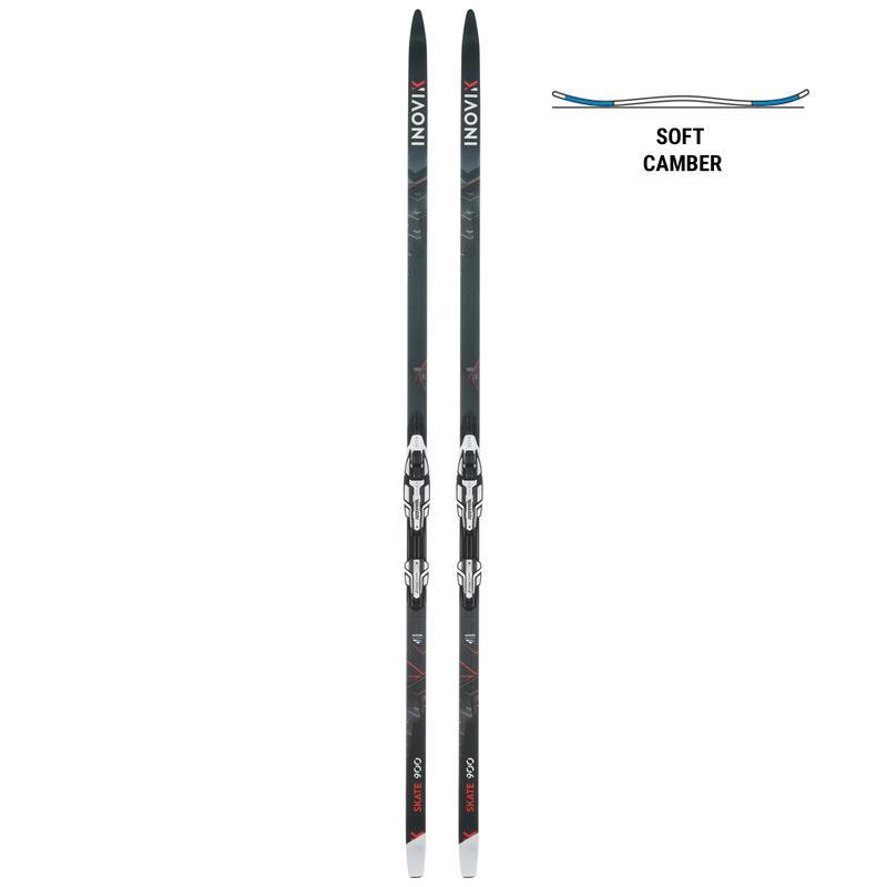Adult Cross-Country Skate Ski 900 Soft Camber + Bindings Rottefella Xcelerator
