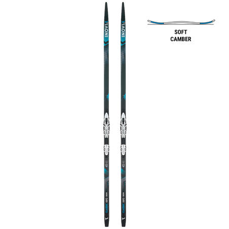 Classic cross country skis 550 with skins - SOFT camber + XCELERATOR bindings