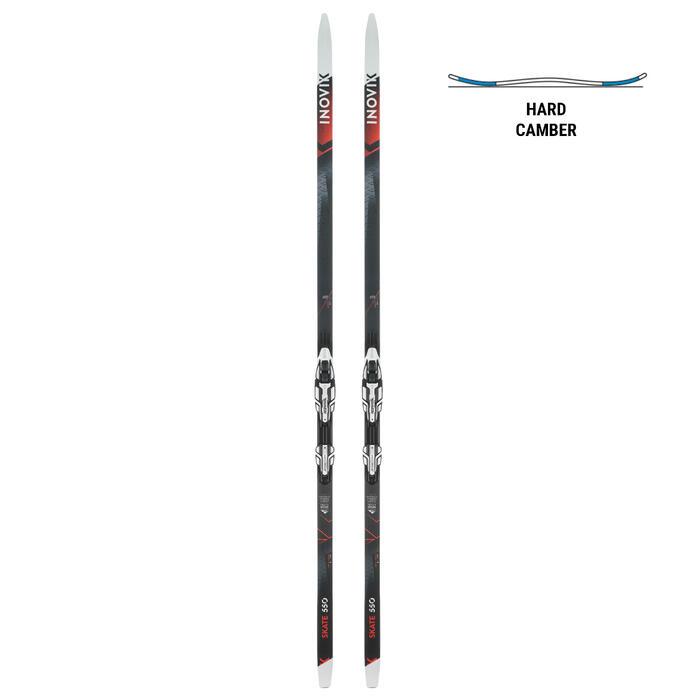 Ski de fond skating 550 cambre HARD adulte + Fixation Rottefella Xcelerator