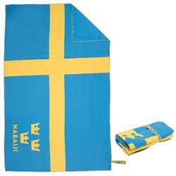 Supercompacte microvezel handdoek met Zweden-print maat L 80 x 130 cm
