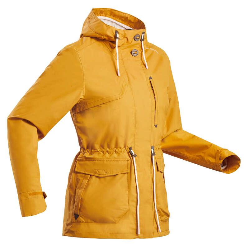 WOMEN NATURE HIKING JACKETS ALL WEATHER Hiking - Rain jacket NH550 - Ochre QUECHUA - Hiking Jackets