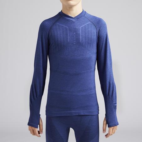 Kids' Long-Sleeved Base Layer Football Top Keepdry 500 - Mottled Blue