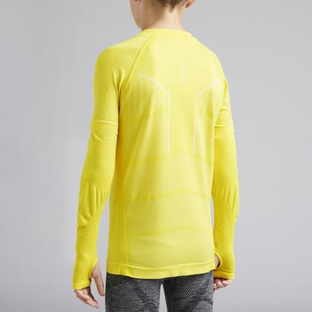Kids' Long-Sleeved Base Layer Football Top Keepdry 500 - Yellow