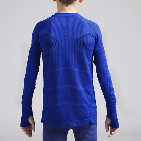 Kids' Long-Sleeved Base Layer Football Top Keepdry 500 - Indigo Blue