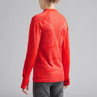 Kids' Long-Sleeved Base Layer Football Top Keepdry 500 - Red