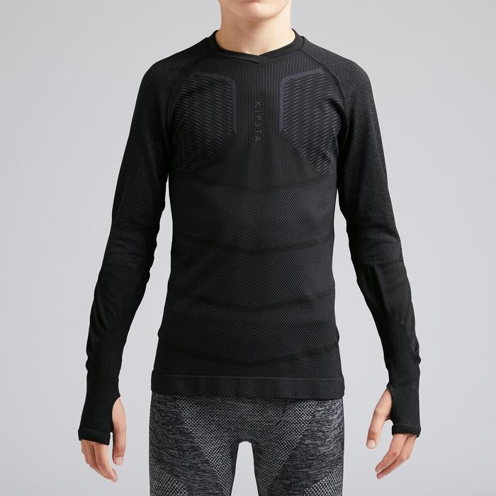 Thermoshirt kind Keepdry 500 lange mouw zwart