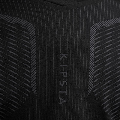 Kids' Long-Sleeved Football Base Layer Top Keepdry 500 - Black