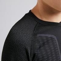 Kids' Long-Sleeved Base Layer Football Top Keepdry 500 - Black