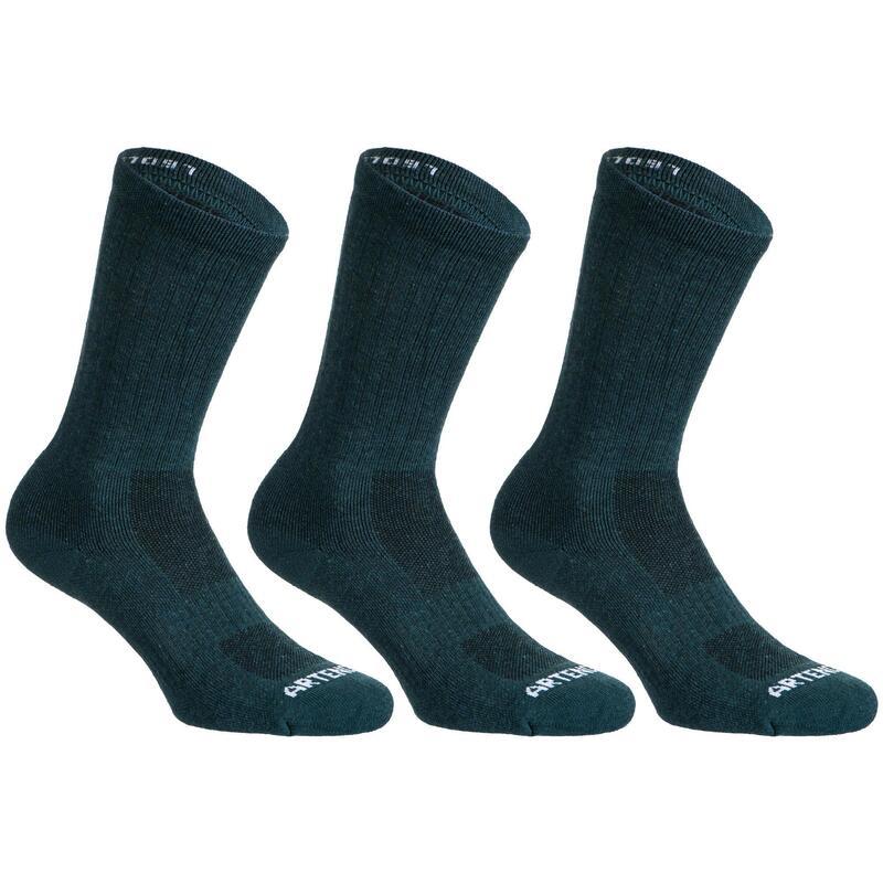High Tennis Socks RS 500 Tri-Pack - Pine Green