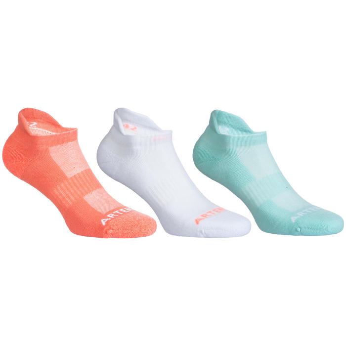 3雙入低筒網球襪RS 500 - 白色/綠色