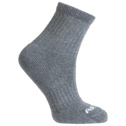 Kids' High Tennis Socks RS 500 Tri-Pack - Heathered Grey