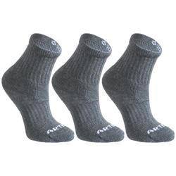 3雙入兒童款高筒網球運動襪RS 500 - 希瑟灰