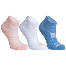 3雙入兒童款中筒網球運動襪RS 500-粉色/白色/藍色