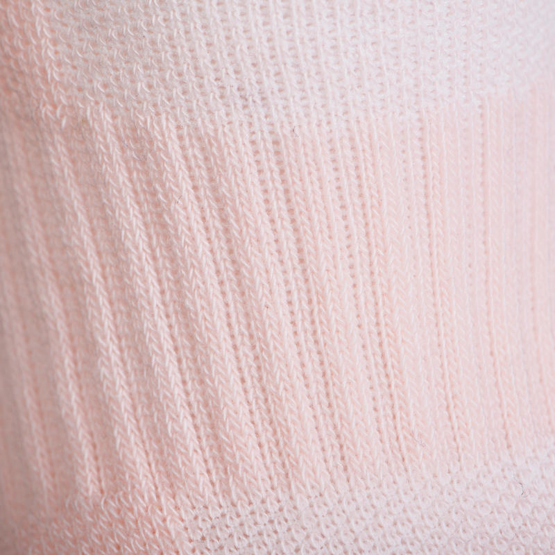 Kids' Mid Sports Socks RS 500 Tri-Pack - Pink/White/Blue