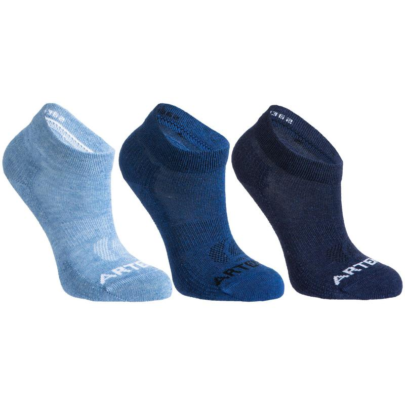 3雙入兒童款中筒網球運動襪RS 160-斑藍/海藍