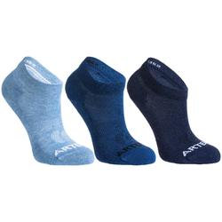 Kids' Mid Tennis Socks RS 160 Tri-Pack - Mottled Blue/Navy