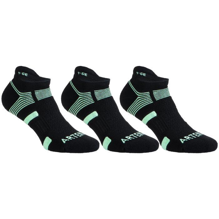 Tennissokken RS 560 low zwart/groen 3 paar