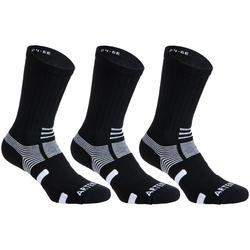 Hoge tennissokken RS 560 zwart/wit set van 3 paar