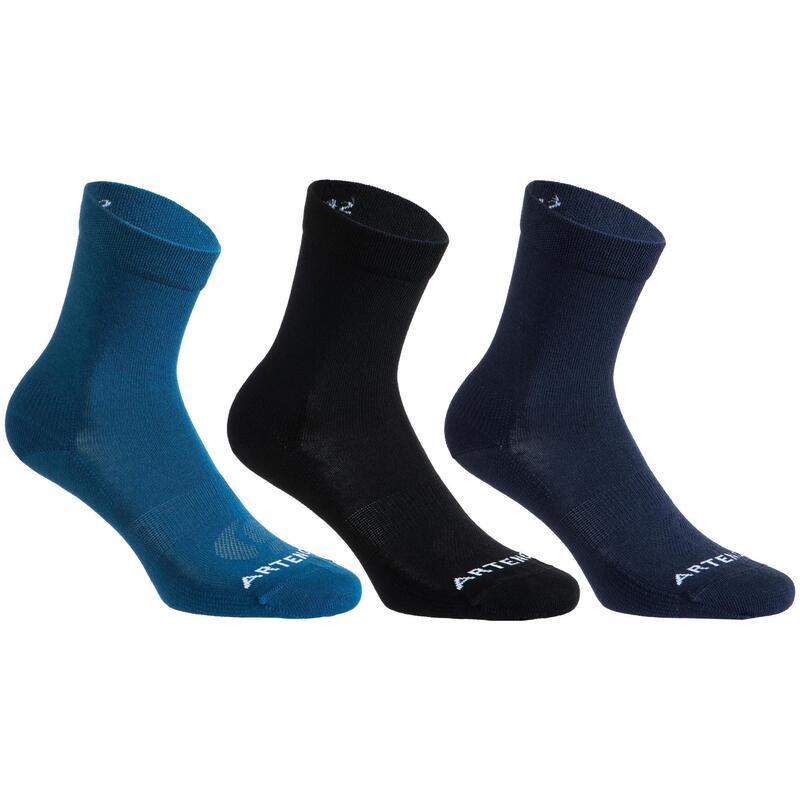 Vysoké tenisové ponožky RS160 černé, modré 3 páry