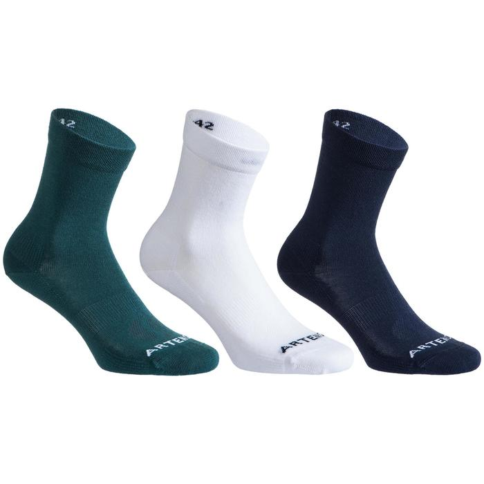 CHAUSSETTES DE TENNIS RS 160 HIGH VERT BLANC MARINE LOT DE 3