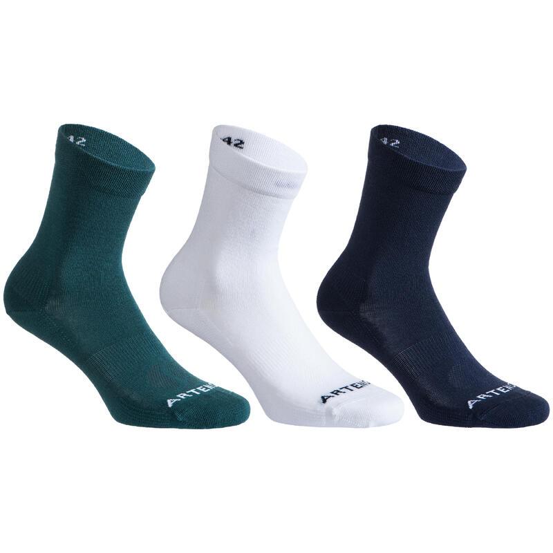 Hoge tennissokken RS 160 groen/wit/marineblauw set van 3 paar