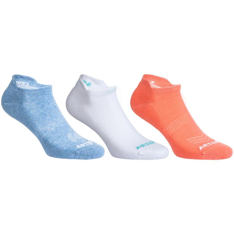Nízké tenisové ponožky RS160 růžové, modré, bílé 3 páry
