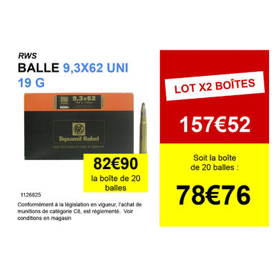 Munition RWS 9,3x62 Uni Classic 19g - 293 grains RWSX20