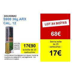 CARTOUCHE S900 36g IMPACT ARX CALIBRE 12/70 PLOMB N°6 X25
