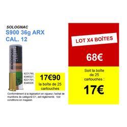 CARTOUCHE S900 36g IMPACT ARX CALIBRE 12/70 PLOMB N°8 X25