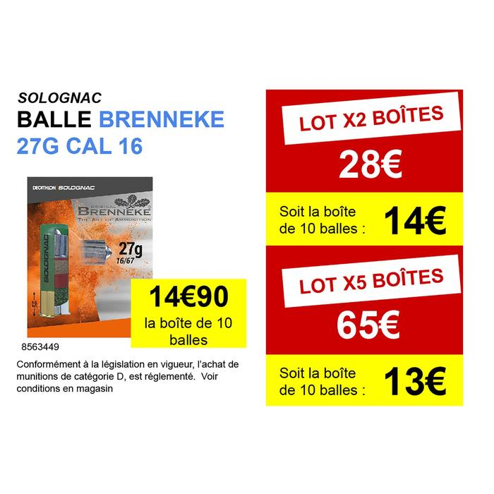 BALLE BRENNEKE CALIBRE 16 X 10 .