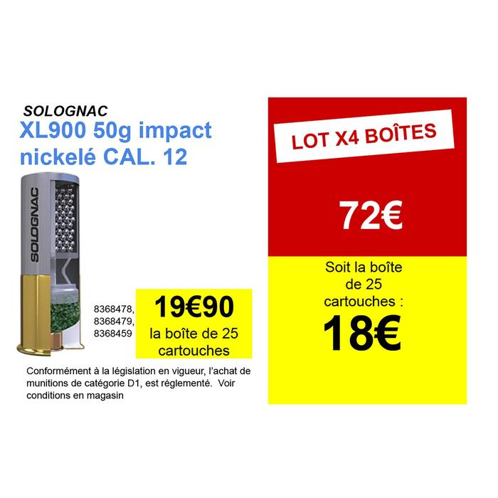CARTOUCHE XL900 50g IMPACT CALIBRE 12/76 PLOMB NICKELE N°2 X25