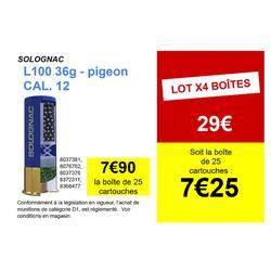 CARTOUCHE L100 36 grammes PIGEON CALIBRE 12/70 PLOMB N°5 X25