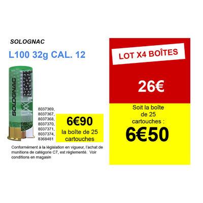 CARTOUCHE L100 32g CALIBRE 12/70 PLOMB N°6 X25