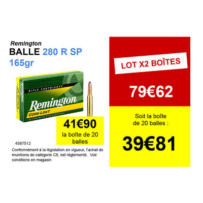 Munitions de chasse 280REM SP 165 grains