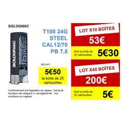 CARTOUCHE BALL-TRAP T100 24G STEEL (ACIER) CAL 12/70 PLOMB N°7 X25 SOLOGNAC