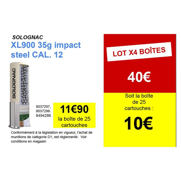 Cartouche CALIBRE 12/76 XL900 35gr Impact Acier N°4 X25
