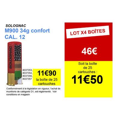 CARTOUCHE M900 34g CONFORT CALIBRE 12/70 PLOMB N°7 X25