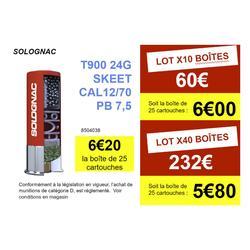 CARTOUCHE BALL-TRAP T900 24G SKEET CALIBRE 12/70 PLOMB N°9 X25 SOLOGNAC