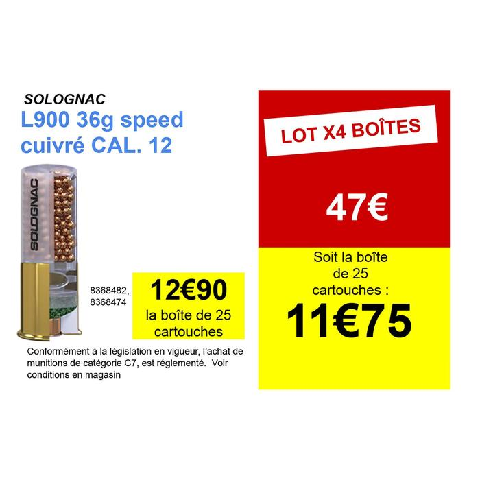 CARTOUCHE L900 36g SPEED CALIBRE 12/70 BILLE CUIVRE N°6 X25