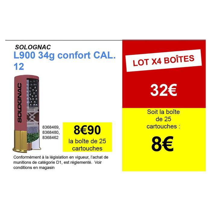 CARTOUCHE L900 34g CONFORT CALIBRE 12/70 PLOMB N°6 X25