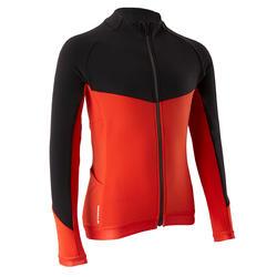 Fietsshirt kind 900 met lange mouwen zwart/rood