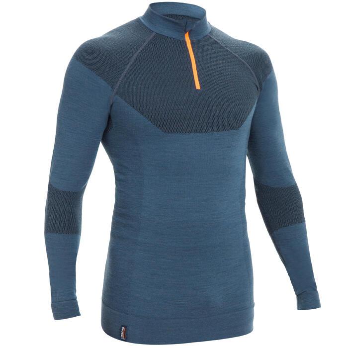 Warm shirt - baselayer voor heren Sailing 500 lange mouwen merinowol grijs