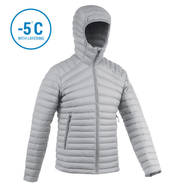 Men's Mountain Trekking Down jacket - TREK 100 DOWN - grey