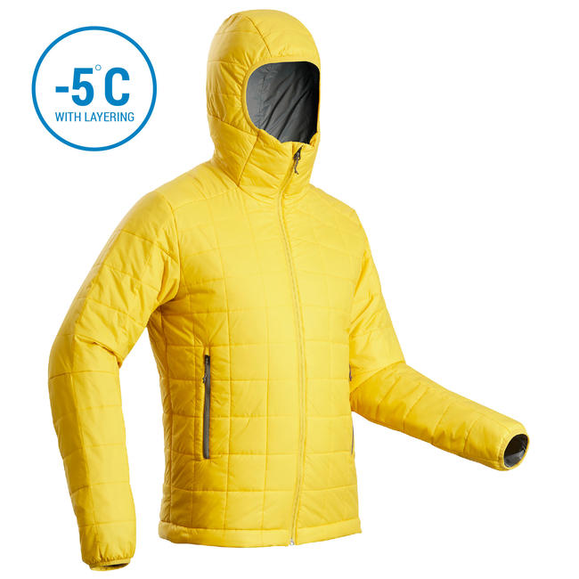 Men's hooded mountain trekking padded jacket TREK 100 - Yellow