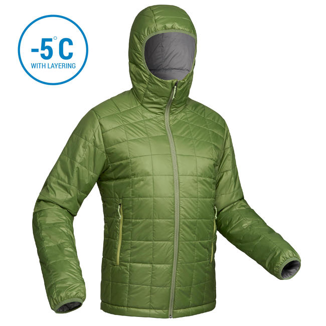 Men's Mountain Trekking Padded Jacket Trek 100 with Hood - green
