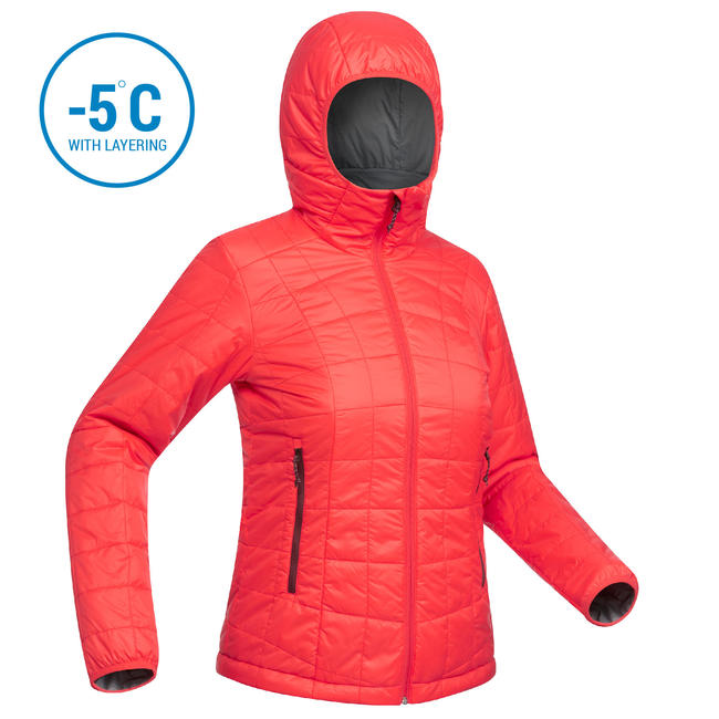 Women's Mountain Trekking Hooded Down Jacket TREK 100 - Red