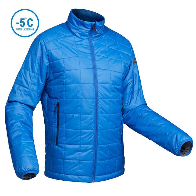 Men's Mountain Trekking Padded Jacket - TREK 100 - blue