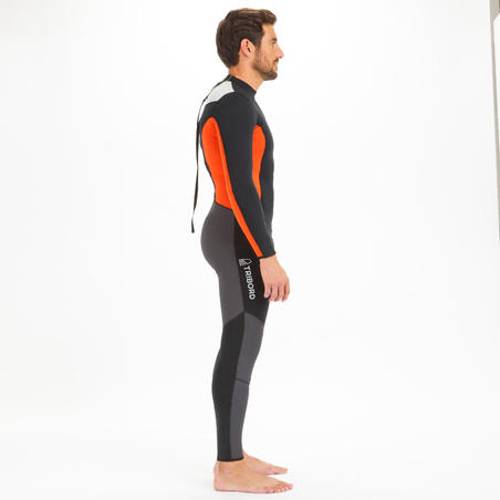 Dinghy 500 Men's Sailing GBS 3/2 mm Neoprene Wetsuit - Black/Orange